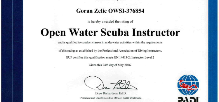 PADI OPEN WATER SCUBA INSTRUCTOR – Zelić Goran