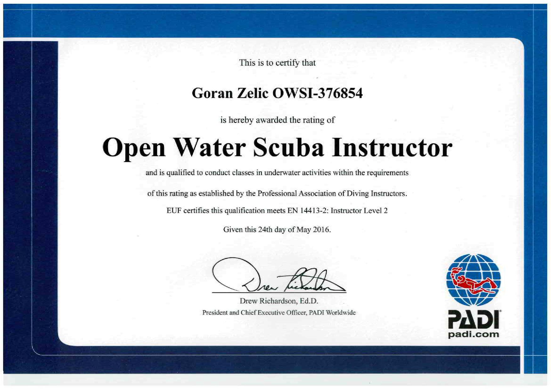 PADI diploma Zelic